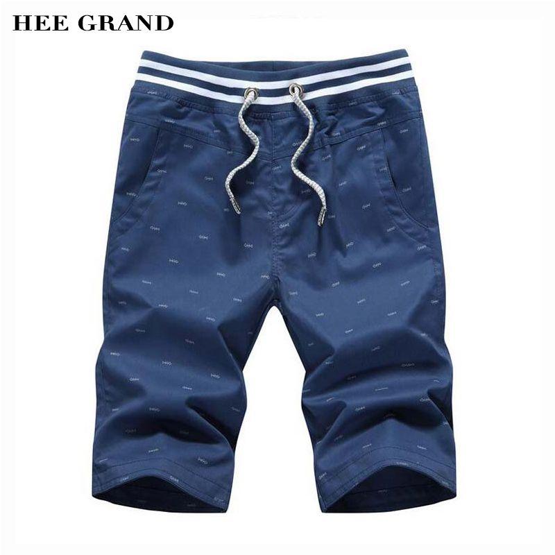 Hee Grand Новое поступление летние мужские тонкие Short повседневная середины талии прямо модный принт бермуды M-4XL 4 цвета MKD908