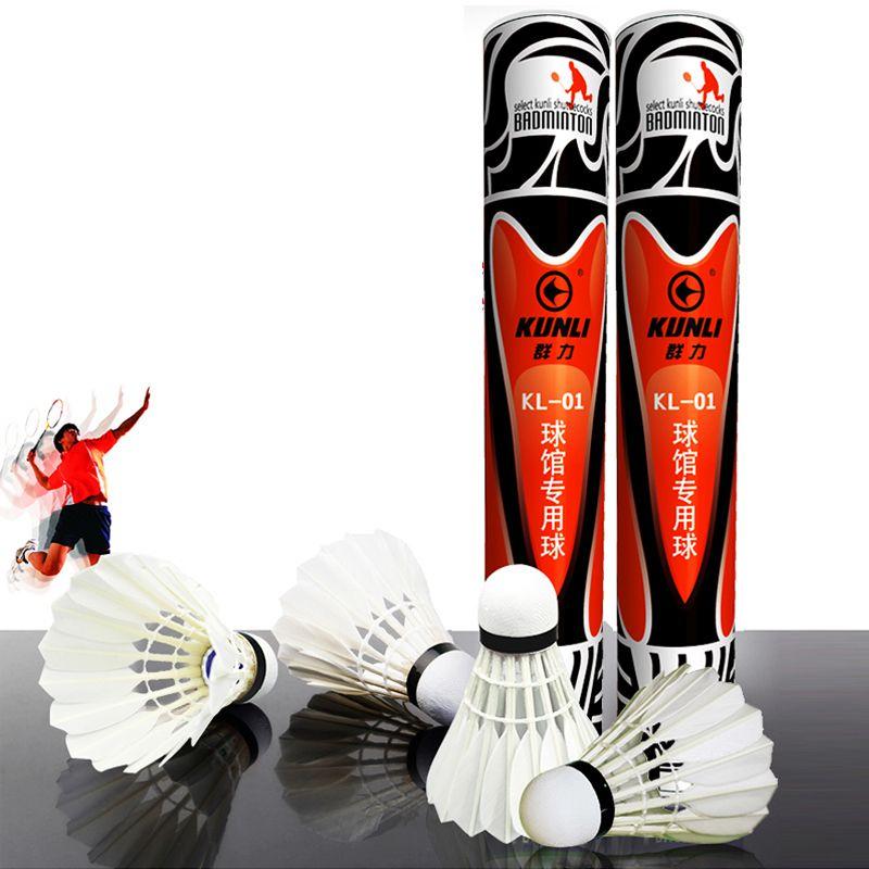 Volant de badminton en plumes de canard de première classe de KUNLI-01 12 pièces/douzaine de volant en plumes pour la compétition 5 douzaines/lot livraison gratuite