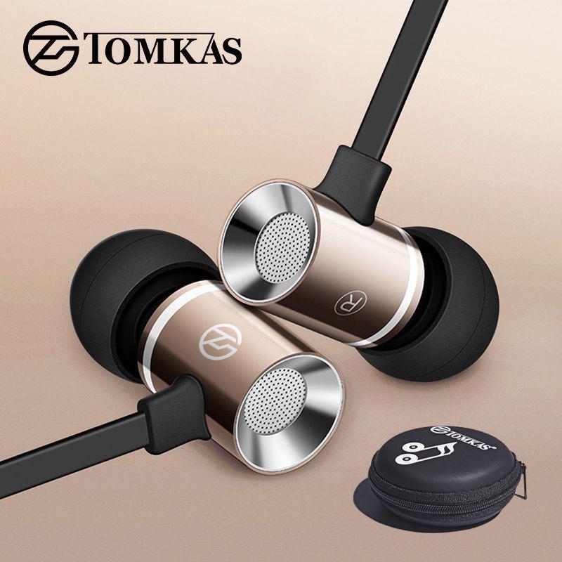TOMKAS Verdrahtete Kopfhörer für iPhone Samsung Xiaomi Telefon In-Ear Stereo Sound Noise Cancelling mit Mikrofon Sport Kopfhörer Fall