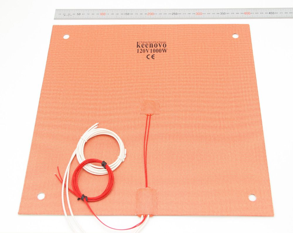 KEENOVO Silicone Heater Pad 400x400mm for Creality CR-10 S4 3D Printer Bed w/Screw Holes, Adhesive Backing & Sensor