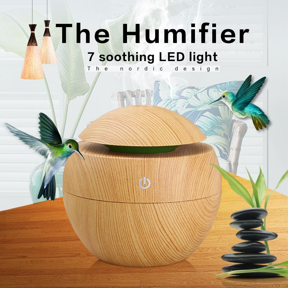 Mini Wood Gra Air Humidifiers Aromatherapy Ultrasonic Humidifier Diffuser USB <font><b>Color</b></font> Changing LED