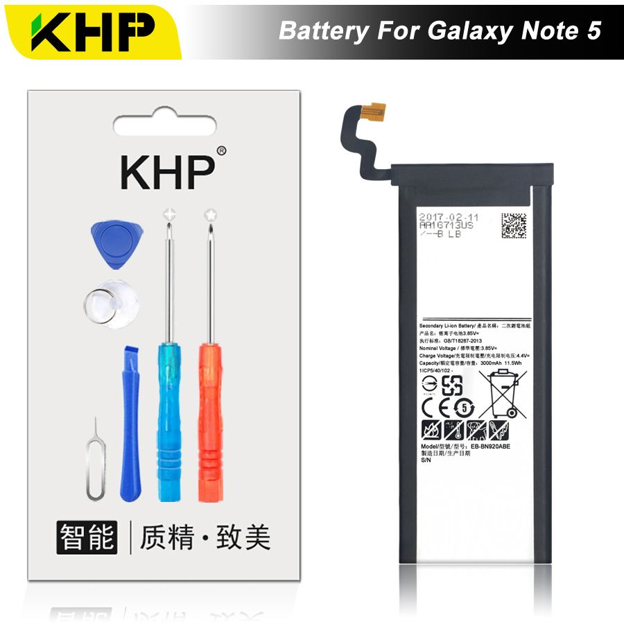 NEW 2017 100% Original KHP Phone Battery For Samsung Galaxy Note 5 N9200 N920t EB-BN920ABE Battery Replacement Mobile Batteries