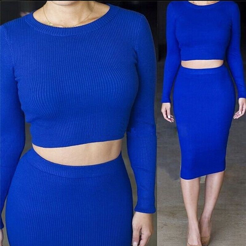 2 pièces ensemble femmes manches longues haut court et jupe ensemble mi-long Hip-jupe enveloppée survêtements TC97501010005