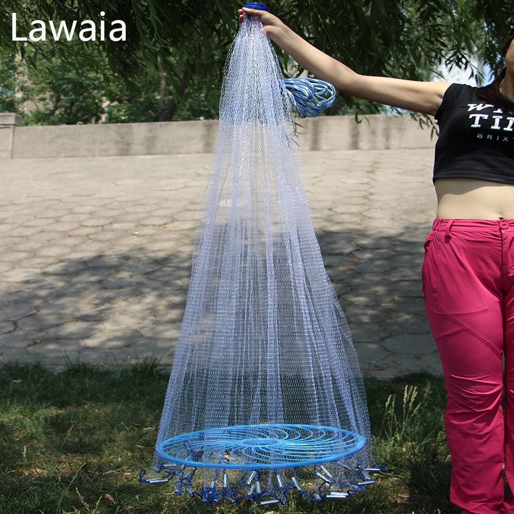 Lawaia Easy throw Cast Net Fishing Network Tool Diameter 3-7.2m American Style Fishing Net Frisbee Net 1cm Mesh