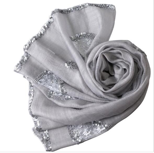 real silk women summer long scarf with sequin solid shawl