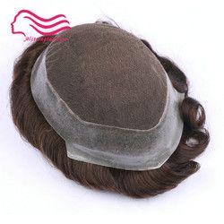 100% pelo Remy humano hombres peluquín, Australia marca, cordón francés con la piel alrededor. Reemplazo de cabello, hombres de pelo peluquín en stock