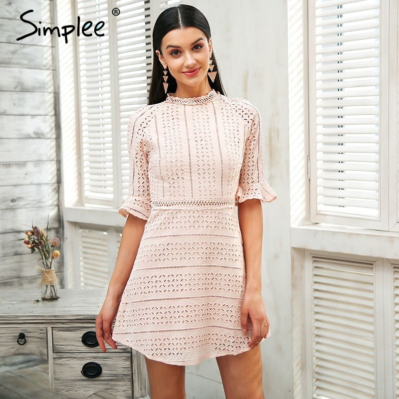 Simplee Elegant pink hollow out lace dress women Half sleeve chic midi white dress Spring 2018 party sexy dress vestidos robe