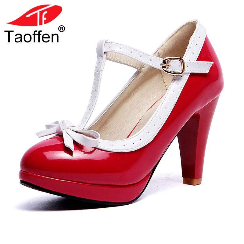 TAOFFEN Plus Size 32-48 Women Summer high heels shoes Woman t-strap bowknot pumps lady platform daily work dress Footwear
