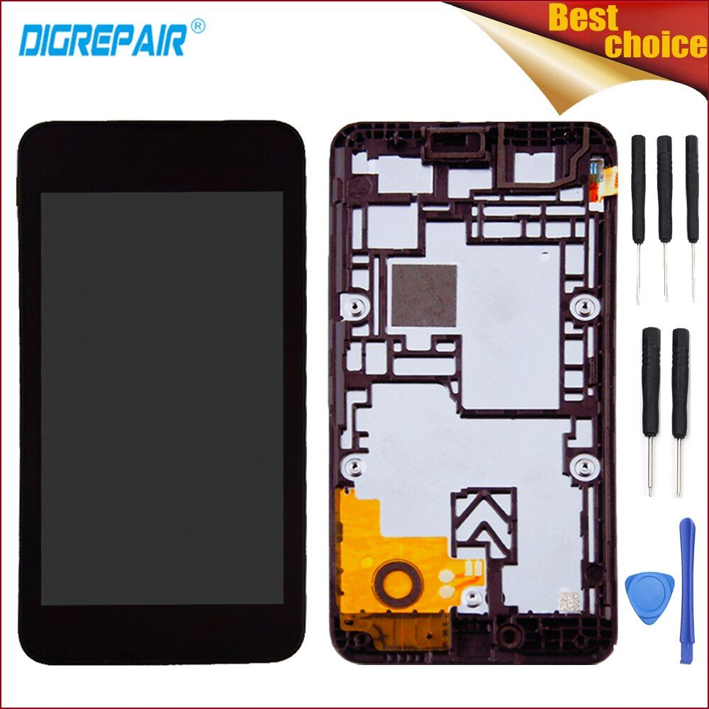 Black For Nokia Lumia 530 N530 LCD Display Touch Screen Digitizer Glass Panel Full Assembly Repair Replacement Parts+Frame+Tools