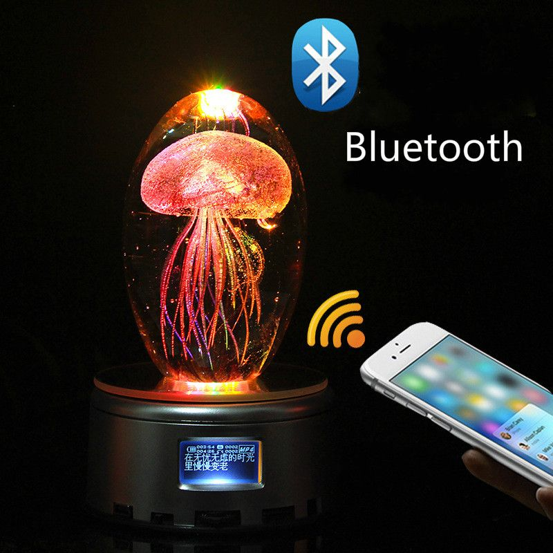 Creative Bluetooth Jellyfish Music box crystal Valentine Day gift birthday gift to girl wife romantic gift
