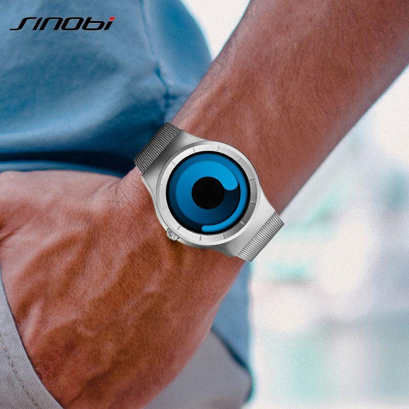 SINOBI Brand Creative Sports Quartz Watch Men Stainless Steel Strap Mens Watches 2018 Fashion Rotation Clock Relogio Masculino