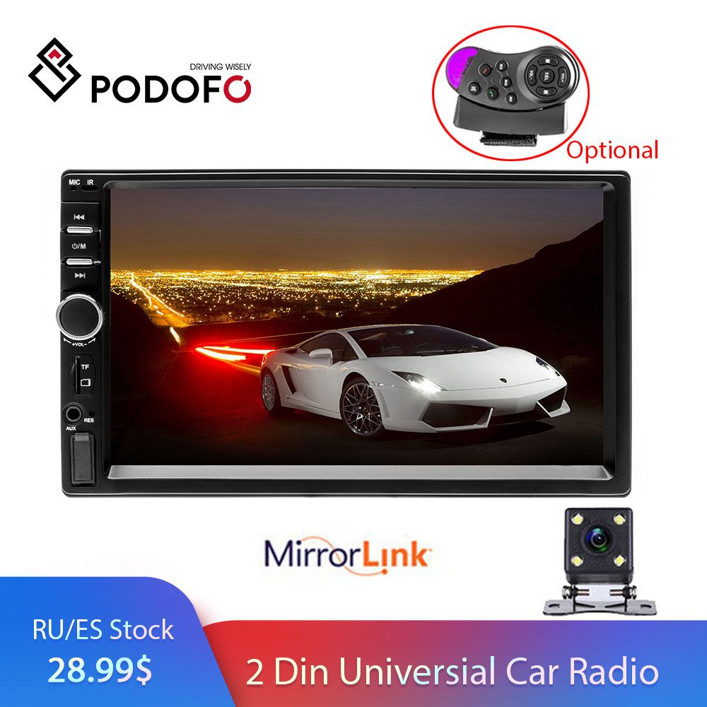 Podofo 2 din Car Radio Multimedia Player Autoradio Stereo 7