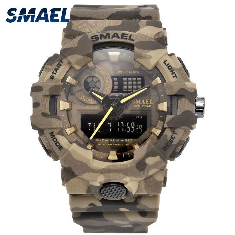 New Camouflage Military Watch SMAEL Brand Sport Watches LED Quartz Clock Men Sport Wristwatch 8001 Mens Army Watch Waterproof