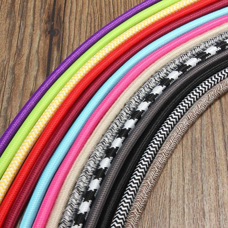 2 Mt 2 Kabel Farbe Vintage Twist Geflecht Licht Kabel Tuch Elektrische Draht Kronleuchter Pendelleuchte Drähte