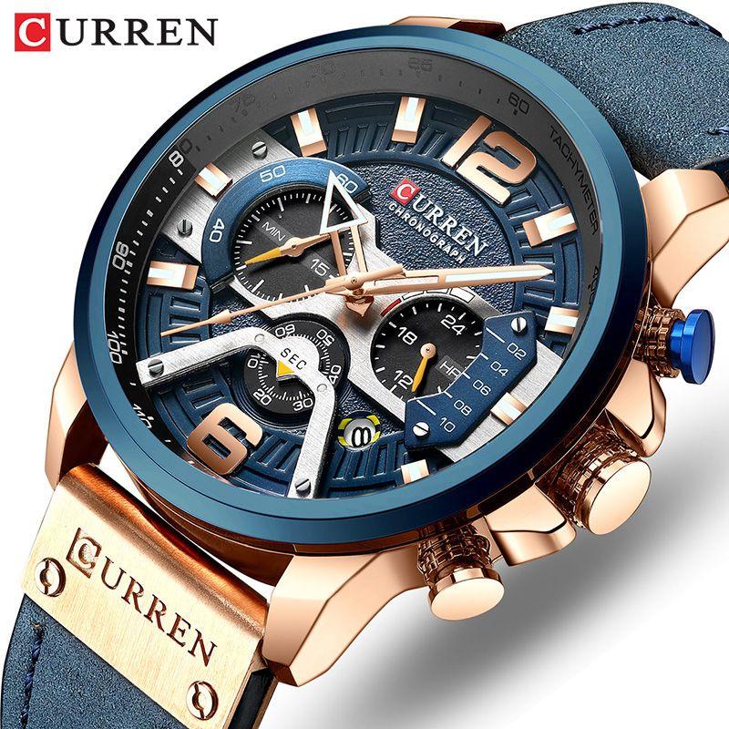 CURREN Luxury Brand Men Analog Leather Sports Watches Men's Army Military Watch Male Date Quartz Clock Relogio Masculino 2019