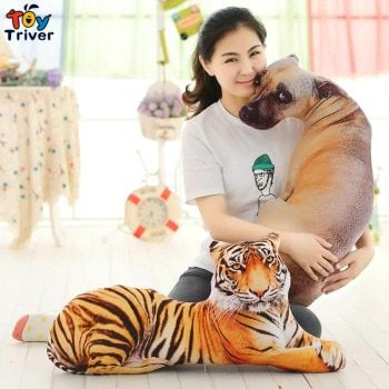 3D Tiger Shar Pei Spotty Dog Doll Stuffed Plush Toys Bolster Pillow birthday christmas gift for children baby kids friend Triver