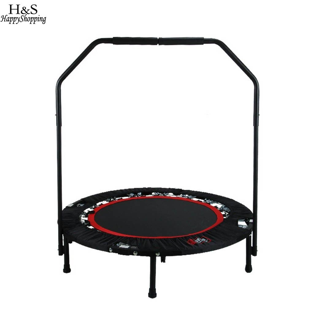 Fitness Workout Folding Trampoline Adjustable Handrail and Angle Kids Jumping Bed Compact and Portable Fitness Equipments
