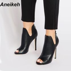 Aneikeh New Design Women Chelsea Boots Black Open Toe High Heels Shoes Spring Autumn Woman Ankle Boots Size 35 - 40 938-119#