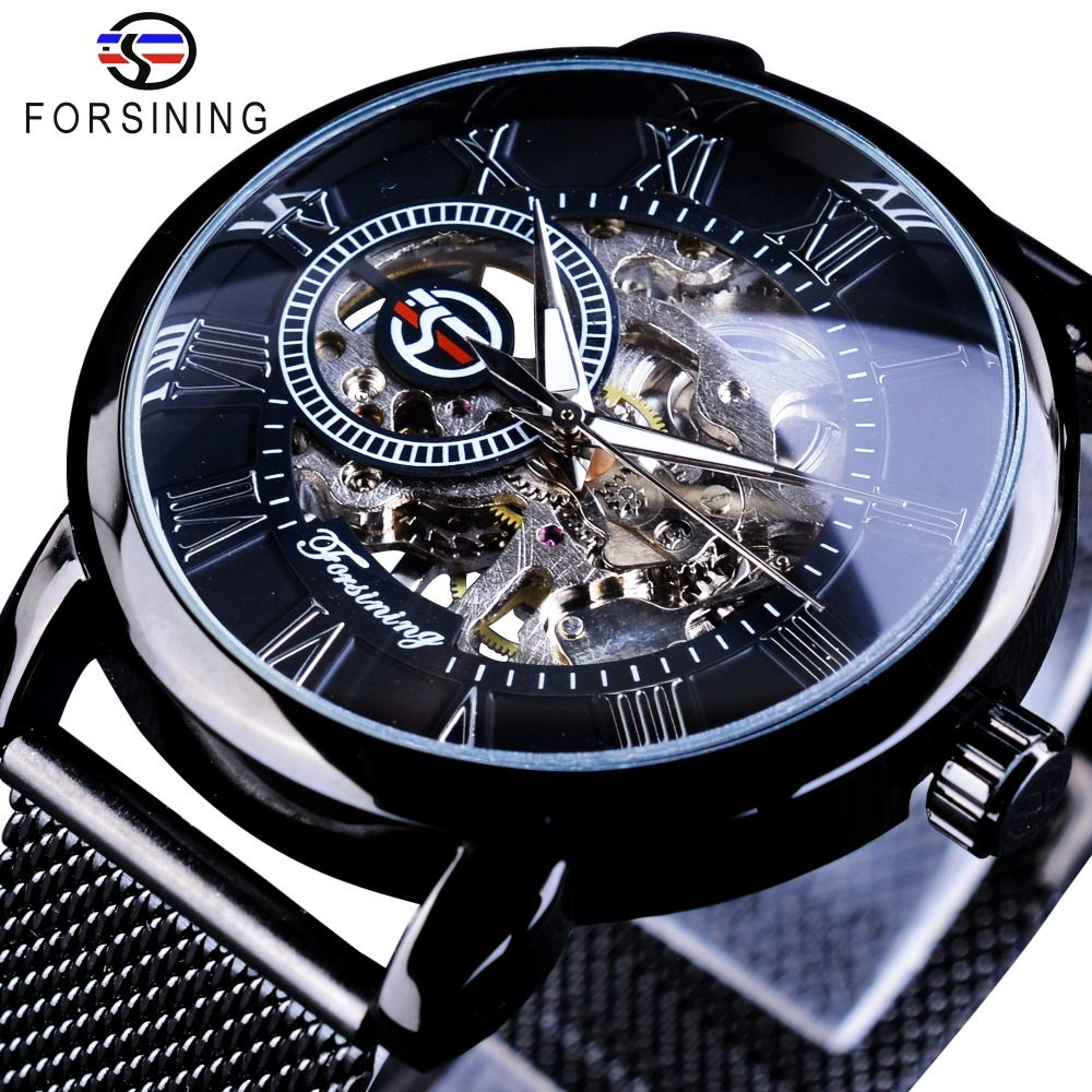 Forsining Retro Fashion Design Skeleton Sport Mechanical Watch Luminous Hands Transparent Mesh Bracelet For Men Top Brand Luxury