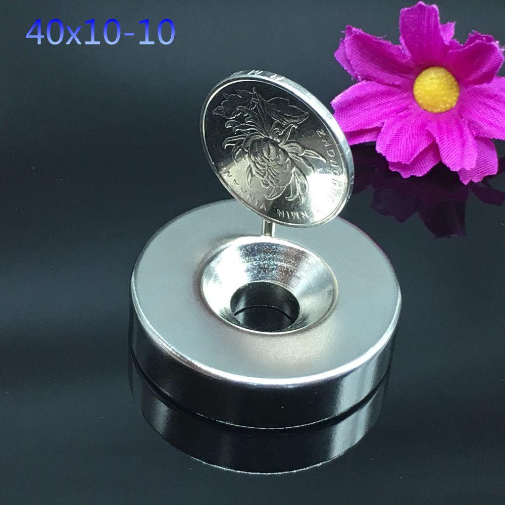 1 pièces aimant Néodyme 40x10mm trou 10mm métal gallium super fort aimant rond 40*10mm anneau permanent anneau magnétique puissant