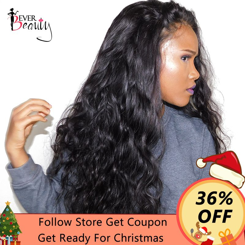 Glueless Full End Lace Front Human Hair Wigs For <font><b>Women</b></font> Brazilian Body Wave Lace Front Wig Black 250% Density Remy Ever Beauty