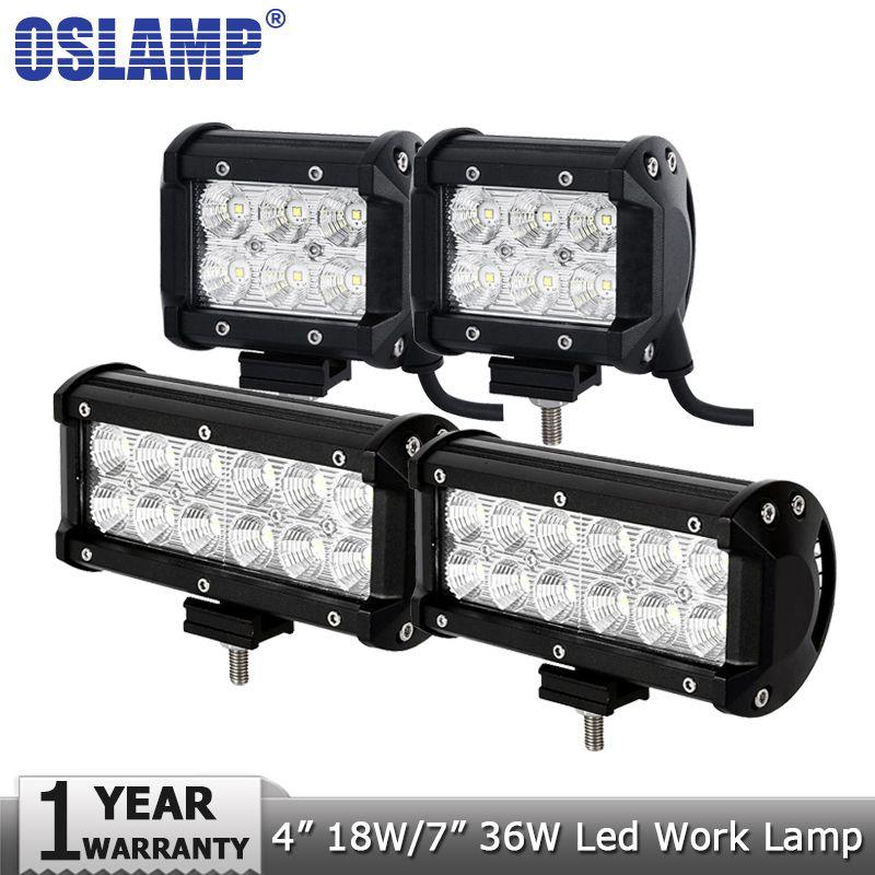 Oslamp 4inch 18W 7inch 36W LED Work Light 12v 24v Spot Flood Led Work Lamp Driving Lights Offroad 4x4 Truck Boat 4WD ATV SUV