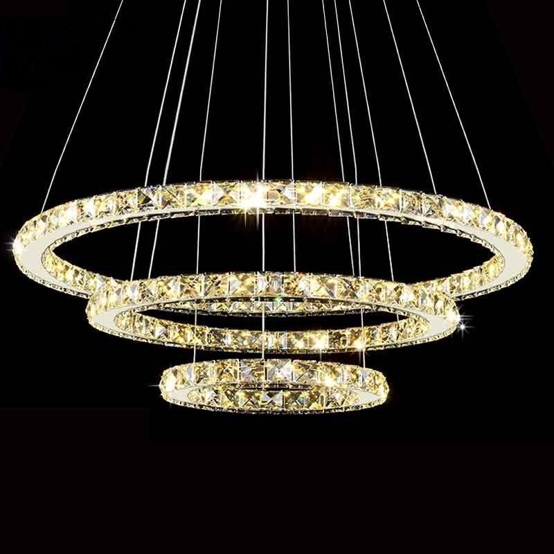 Moderne LED Diamant Anneau Lustres Chrome Finition Miroir En Acier Inoxydable Chambre Lampe Suspendue LED Lustre Lustres