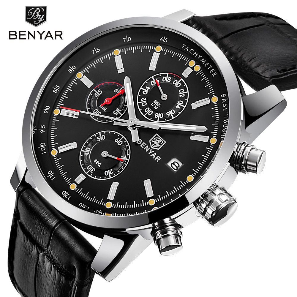 2017 BENYAR Fashion Chronograph Sport Mens Watches Top Brand Luxury Waterproof Military <font><b>Quartz</b></font> Watch Clock Relogio Masculino