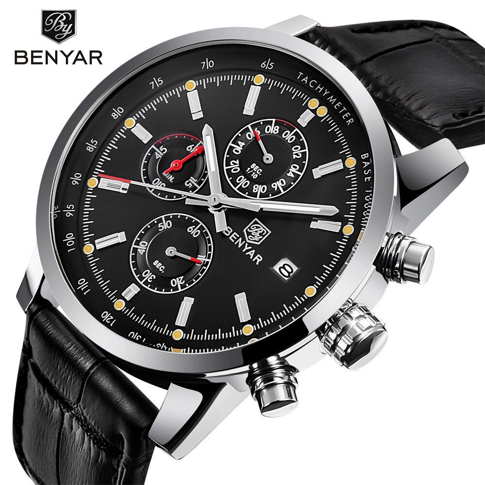 2018 BENYAR Fashion <font><b>Chronograph</b></font> Sport Mens Watches Top Brand Luxury Waterproof Military Quartz Watch Clock Relogio Masculino