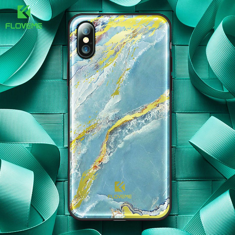 FLOVEME New Fashion Case For iPhone X Marble Case Silicone Frame Hard Back Cover For iPhone 8 Plus Luxury Case Coque Capinhas