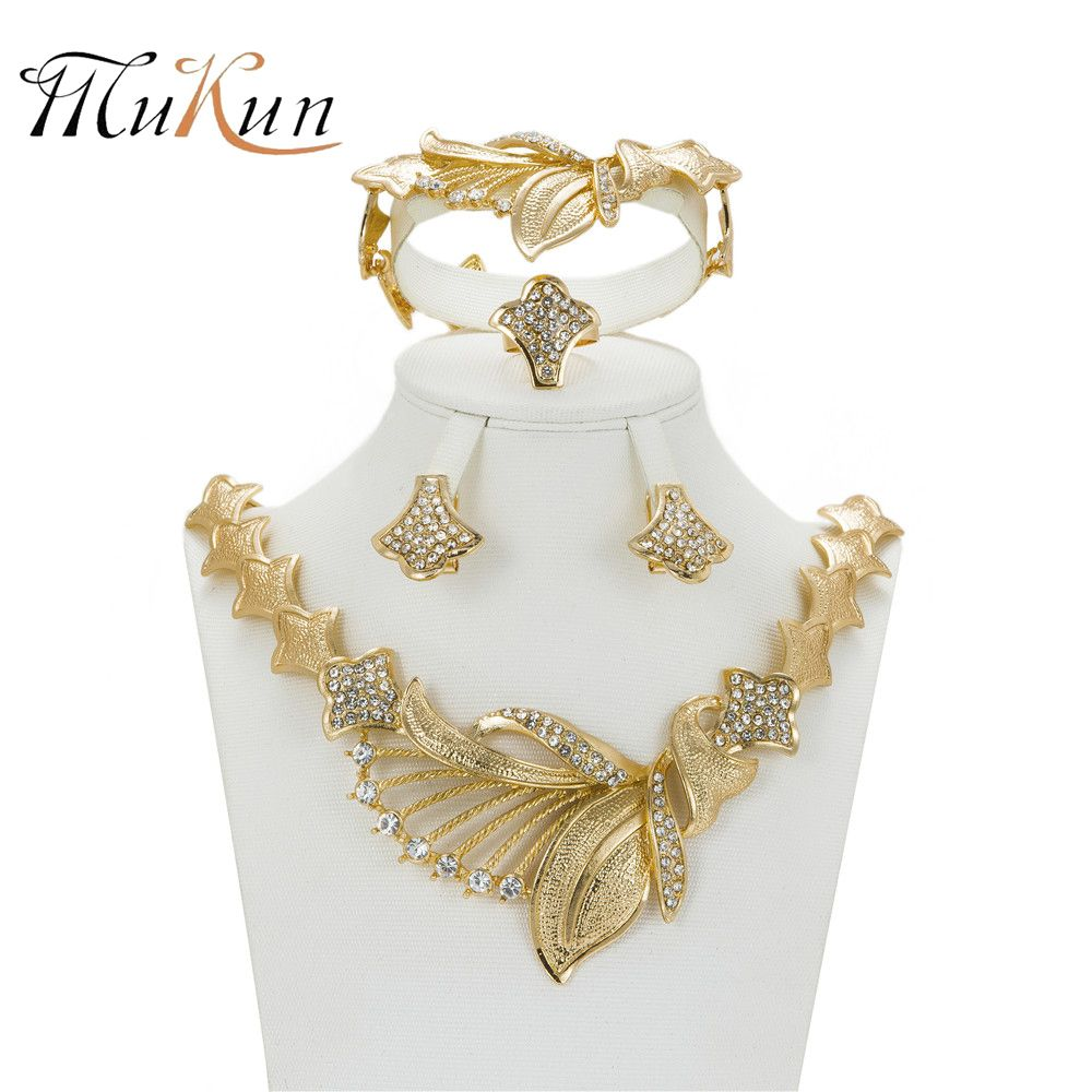 MUKUN African Jewelry Sets Gold Color Nigerian Wedding For Women Crystal Jewelry Wedding Bridal Jewelry Set Wedding Accessories