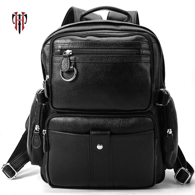 TIANHOO Echten Weichen Leder Rucksack Schwarz Litschi Muster männer Tasche Pack Für Reise 13 zoll Laptop camping Taschen Für ipad Air
