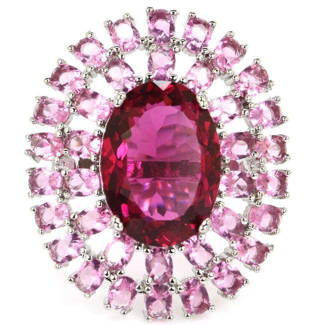 Impresionante Gran Óvalo Rosa Tourmalins Regalo del Día de San Valentín de La Boda de la Mujer 925 Anillo de Plata 35x29mm