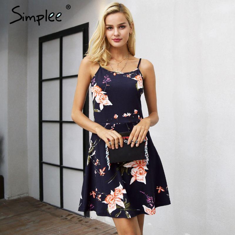 Simplee Strap v neck floral print mini dress women Casual sleeveless a <font><b>line</b></font> dress female Streetwear autumn short dress 2017