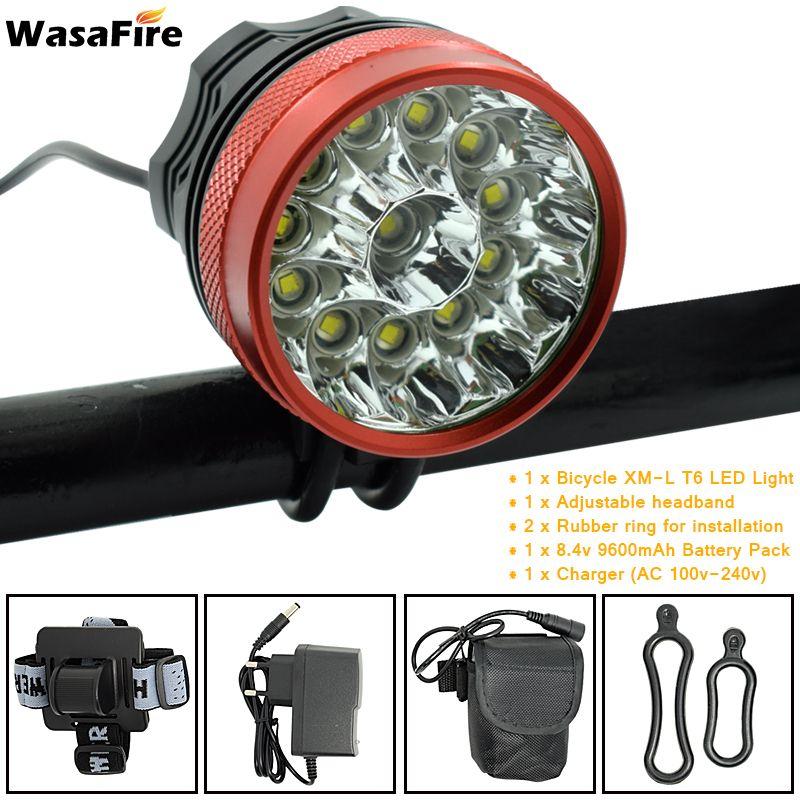 12 LED 2 dans 1 Phare 20000 Lumens 12x XM-L T6 LED Vélo Léger Vélo Vélo Tête Lampe + 9600 mah 18650 Batterie + Chargeur