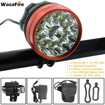 12 LED 2 in 1 Headlight 20000Lumens 12x XM-L T6 LED Bicycle Light Cycling Bike Head Lamp + 9600mah 18650 Battery Pack + Charger