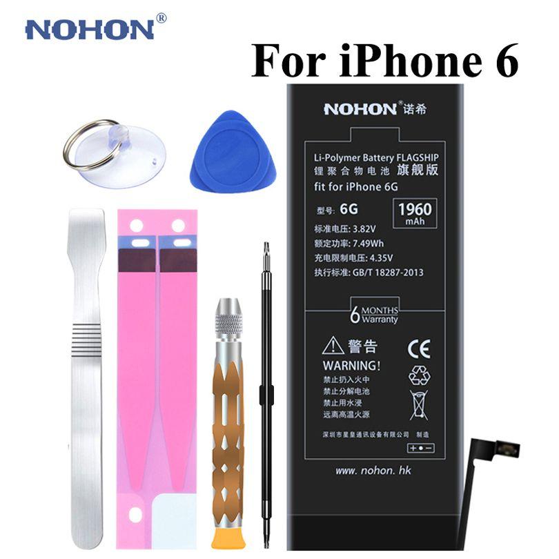 D'origine NOHON Batterie Pour Apple iPhone 6 6G 1960 mAh Haute Capacité Réelle 3.82 V Intégré Téléphone Li-polymère Batteries + Paquet + Outils