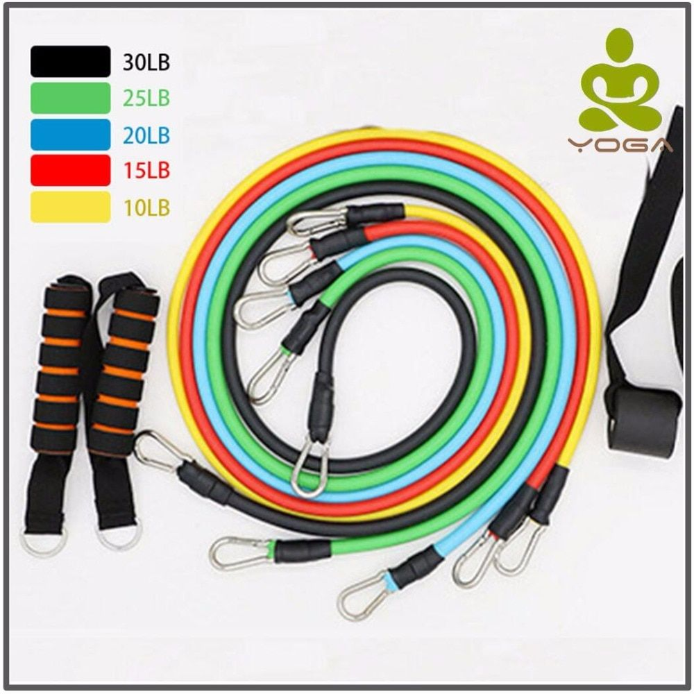 11 Pcs/Set Latex Resistance Bands Crossfit Training Exercise Yoga Tubes <font><b>Pull</b></font> Rope,Rubber Expander Elastic Bands Fitness with Bag