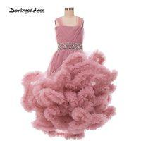 Платья для девочек с цветочным принтом и облаками на свадьбу, детское пышное платье, платья для первого причастия для вечерние детей, платье...