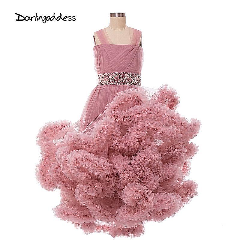 Nuage Fleur Filles Robes pour le Mariage D'enfants Pageant Robe Première Sainte Communion Robes pour Petit Bébé Parti Robe De Bal 2017