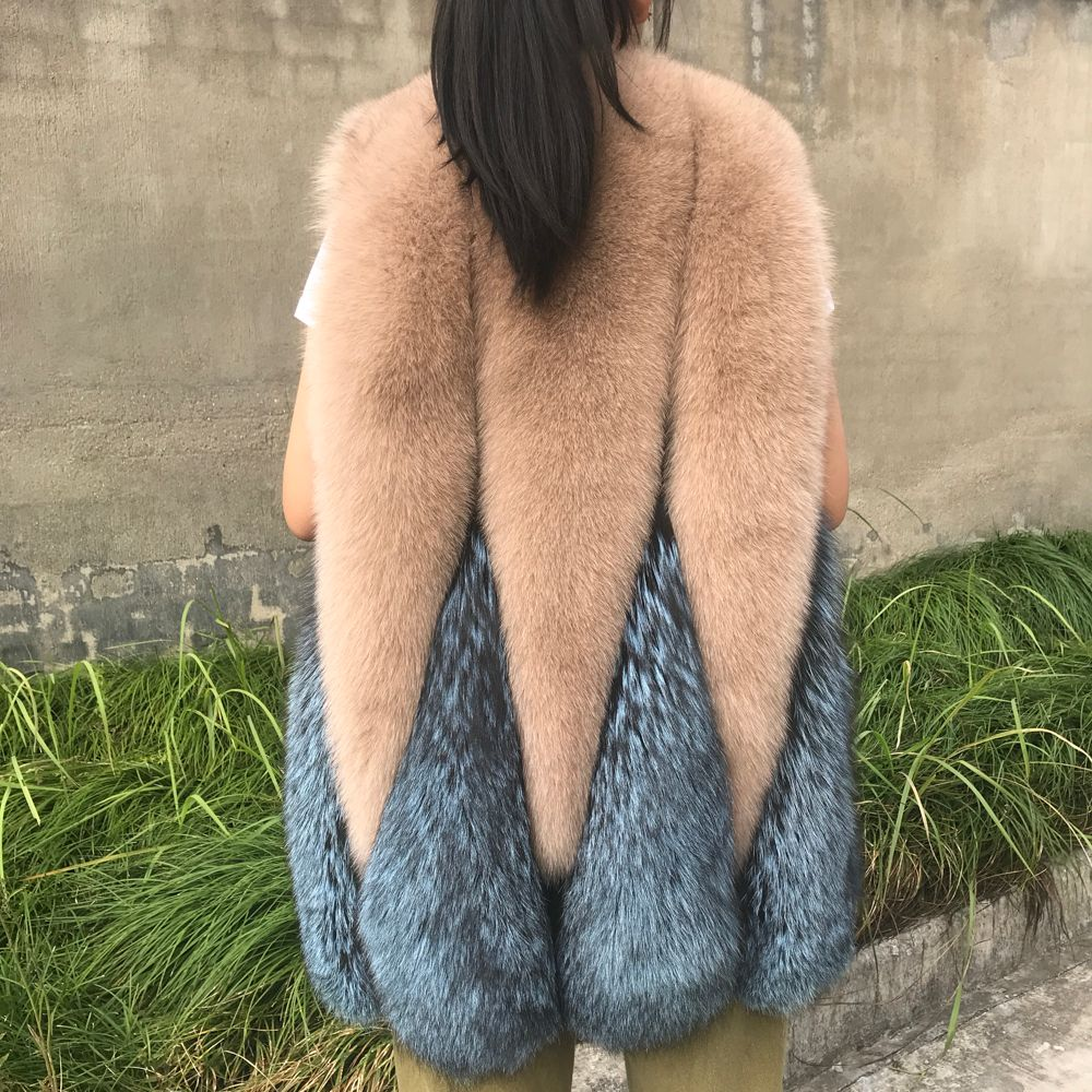 Real Fur Vest Women Winter Fashion Genuine Silver Fox Fur Gilet Ladies Women Clothes 2018 Waistcoat Natural Fox Fur Vest Female