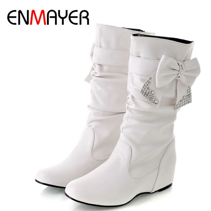 ENMAYER New Women Spring and Autumn Bowtie Charms Flats Boots Shoes Woman Mid-calf 4 Colors White Shoes Boots Large Size 34-47