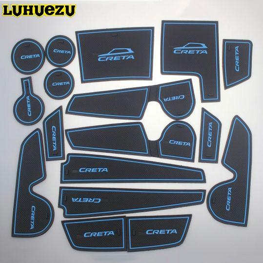 LUHUEZU 17PCS Rubber Non-Slip Interior Door Mat Dusty Proof Mat Accessories For Hyundai Creta IX25 2015 2016 2017 2018