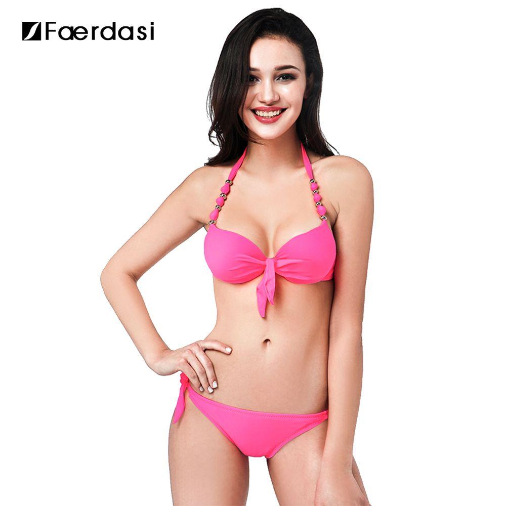 Faerdasi 2017 Print Floral Swimsuits Bikinis Women's Swimming Suit Push Up Halter Bikini Set Bathing Suits Plus Size Swimwear