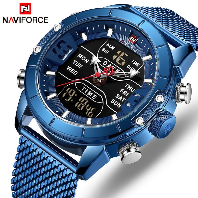 NAVIFORCE hommes montre haut de gamme marque homme militaire Sport Quartz montres en acier inoxydable LED horloge numérique Relogio Masculino