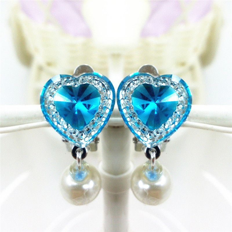 5pairs/Lot Cute Crystal Clip Earrings No Piercing Hanging Earring Jewelry For Children Kids Girls Heart Rhinestone Ear Clips