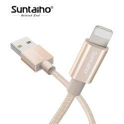 Suntaiho Rapide De Charge Pour iPhone 7 Plus Nylon Tressé Câble de Données champagne or Câble USB Sync chargeur Pour iPhone X 8 plus 6 s