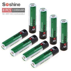 8pcs Soshine 1.2V AAA 1100mAh Ni-Mh Rechargeable Battery with 1000 Cycle + Portable Battery Box