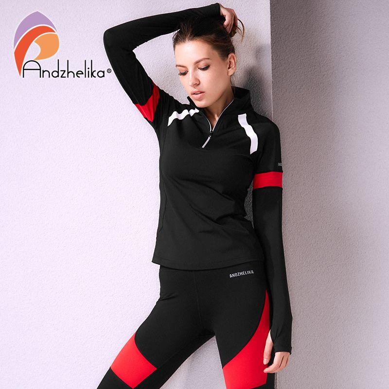Andzhelika Frauen Sport Langarm Jacken Laufen Fitness Reißverschluss Oberbekleidung Patchwork Quick Dry Sweatshirts Yoga Top Trainingsanzüge