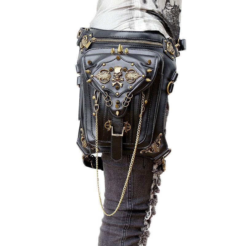Fashion Gothic Steampunk Skull Retro Rock bag Men Women Waist Bag Shoulder Bag Phone <font><b>Case</b></font> Holder women messenger Bag 2017